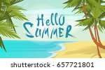 hello summer beach vacation... | Shutterstock .eps vector #657721801