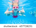 little girl deftly swim... | Shutterstock . vector #657728251