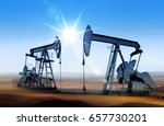 working oil pumps in desert... | Shutterstock . vector #657730201