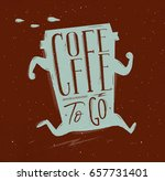 poster running cup of coffee in ... | Shutterstock .eps vector #657731401