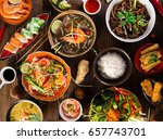 various of asian meals on... | Shutterstock . vector #657743701