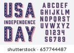 font usa flag stars and stripes ... | Shutterstock .eps vector #657744487