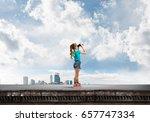 cute girl of school age on... | Shutterstock . vector #657747334