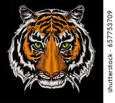 tiger head embroidery design... | Shutterstock .eps vector #657753709