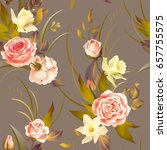 seamless pattern with roses and ... | Shutterstock .eps vector #657755575