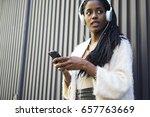 attractive afro american model...   Shutterstock . vector #657763669
