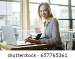 portrait of cheerful blonde... | Shutterstock . vector #657765361