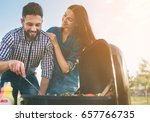 friends making barbecue and... | Shutterstock . vector #657766735