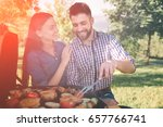 friends making barbecue and... | Shutterstock . vector #657766741
