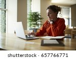 pensive female typing text on... | Shutterstock . vector #657766771