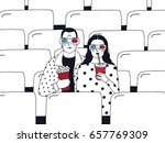 trendy young couple in cinema.... | Shutterstock .eps vector #657769309