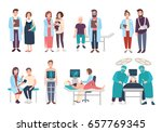 Set Of Doctors And Patients In...