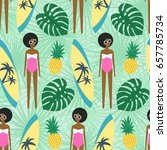 cute african american girl with ...   Shutterstock .eps vector #657785734