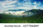 foggy morning summer mountain... | Shutterstock . vector #657786889