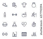 set of 16 fitness outline icons ... | Shutterstock .eps vector #657793594