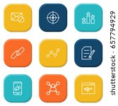 set of 9 engine outline icons... | Shutterstock .eps vector #657794929
