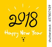 happy new year 2018  dog year ... | Shutterstock .eps vector #657807439