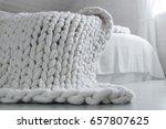 cozy white scandinavian bedroom ... | Shutterstock . vector #657807625