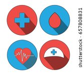 medicine icon flat set. world...