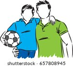 father and son with soccer ball ... | Shutterstock .eps vector #657808945