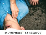 unconscious  pulse checking... | Shutterstock . vector #657810979