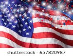 usa flag with fireworks...   Shutterstock . vector #657820987