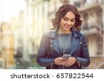 young woman city walk tourist... | Shutterstock . vector #657822544