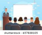 speech at the business... | Shutterstock .eps vector #657838105