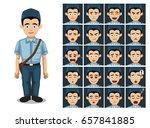 postal worker cartoon emotion...   Shutterstock .eps vector #657841885