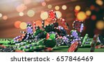 casino poker chips falling on... | Shutterstock . vector #657846469