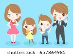 cute cartoon people with tooth... | Shutterstock .eps vector #657864985