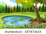 scene with pond in the field... | Shutterstock .eps vector #657873625