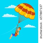man parasailing in the sky... | Shutterstock .eps vector #657887137