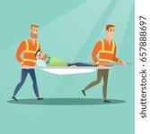 caucasian emergency doctors... | Shutterstock .eps vector #657888697