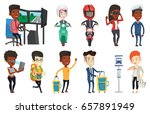 young man in helmet riding a... | Shutterstock .eps vector #657891949
