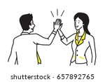 businessman giving high five to ... | Shutterstock .eps vector #657892765