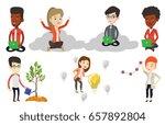 businessman sitting on a cloud... | Shutterstock .eps vector #657892804