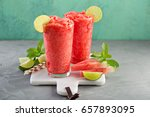 watermelon slushie with lime ... | Shutterstock . vector #657893095