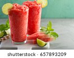 watermelon slushie with lime ... | Shutterstock . vector #657893209