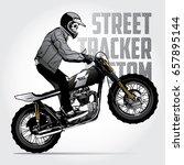 skull riding a vintage...   Shutterstock .eps vector #657895144