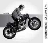 skull riding a vintage...   Shutterstock .eps vector #657895174