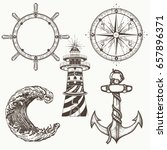 sea collection vintage elements ... | Shutterstock .eps vector #657896371