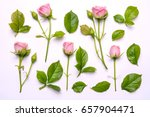 Stock photo set of pink flowers decorative pattern with pink bright roses on white background view from above 657904471