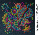 set of vector embroidery... | Shutterstock .eps vector #657907669