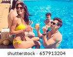 party at smimming pool. group... | Shutterstock . vector #657913204