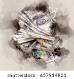 pile of dollars. watercolor... | Shutterstock . vector #657914821