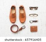 men's leather accessories on... | Shutterstock . vector #657916405