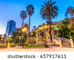 Small photo of Chile, Santiago, View of the Neptune Fountain and Terrace on the Santa Lucia Hill,South America