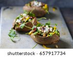 baked sweet potato with salad ... | Shutterstock . vector #657917734