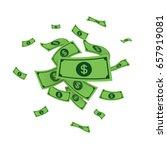 dollars money banknotes falling ... | Shutterstock .eps vector #657919081